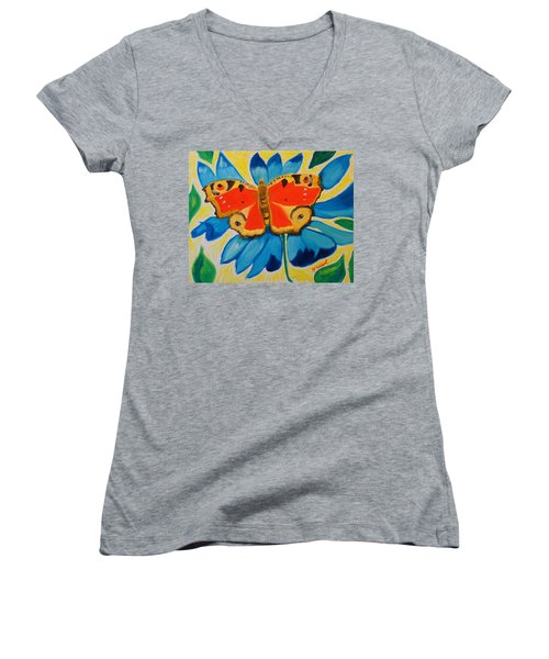 On Top Of My World Women's V-Neck T-Shirt (Junior Cut) by Meryl Goudey
