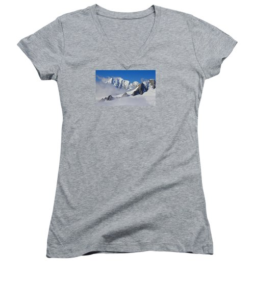 On Top Of The World Women's V-Neck T-Shirt (Junior Cut) by Venetia Featherstone-Witty