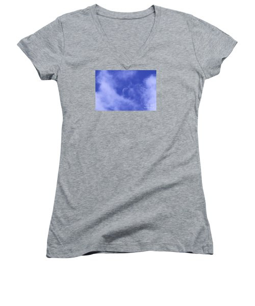 Women's V-Neck T-Shirt (Junior Cut) featuring the photograph Once In A Blue Moon by Judy Whitton