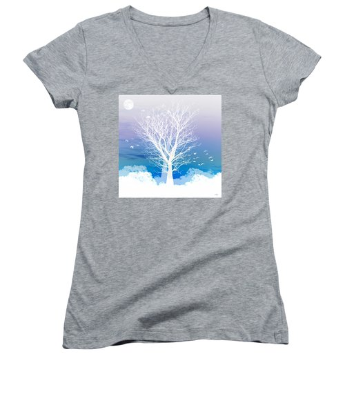 Once Upon A Moon Lit Night... Women's V-Neck T-Shirt (Junior Cut) by Holly Kempe