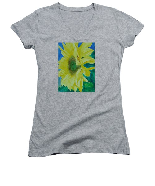 One Bright Sunflower Colorful Original Art Floral Flowers Artist K. Joann Russell Decor Art  Women's V-Neck T-Shirt
