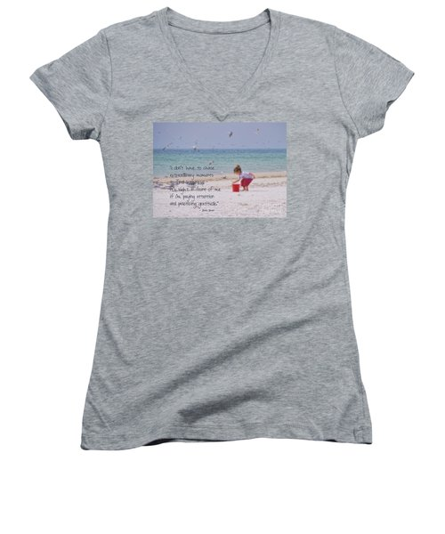 One Moment In Time Women's V-Neck T-Shirt (Junior Cut) by Peggy Hughes