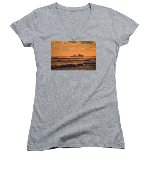 Women's V-Neck T-Shirt (Junior Cut) featuring the photograph Opal Beach Sunset Colors With Huge Waves by Jeff at JSJ Photography