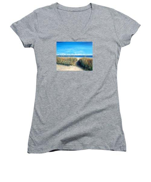 Open Invitation Women's V-Neck T-Shirt (Junior Cut) by Laurie Morgan