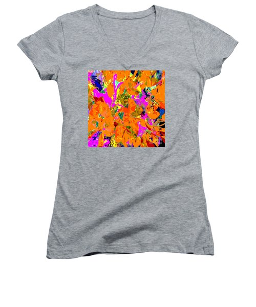 Orange Abstract Women's V-Neck T-Shirt (Junior Cut) by Barbara Moignard
