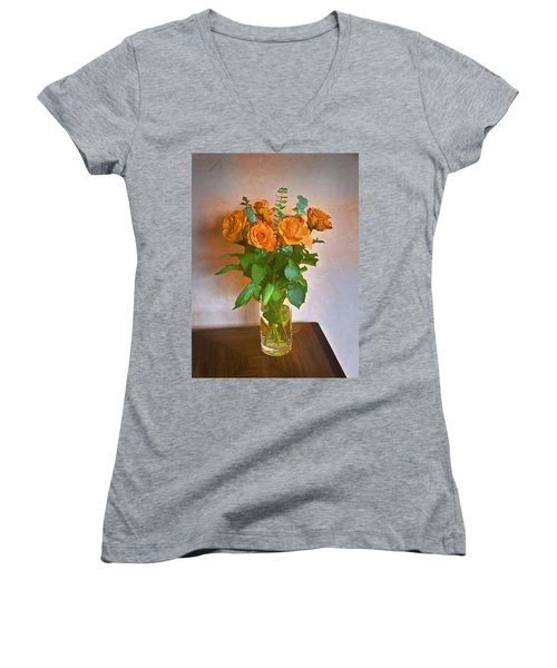 Women's V-Neck T-Shirt (Junior Cut) featuring the photograph Orange And Green by John Hansen