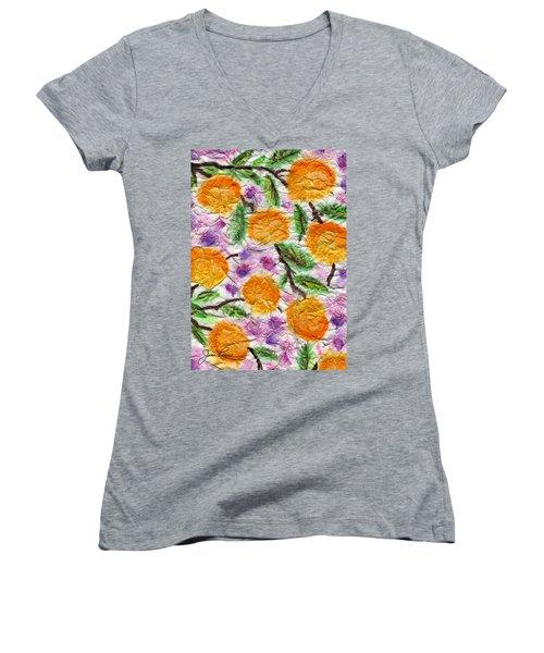 Orange Blossoms Women's V-Neck