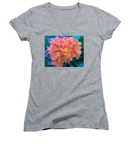 Orange Bouquet Women's V-Neck T-Shirt (Junior Cut) by Claudia Goodell