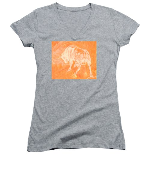 Orange Bull Negative Women's V-Neck