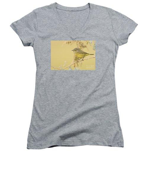 Orange Crowned Warbler Women's V-Neck T-Shirt (Junior Cut) by Bryan Keil
