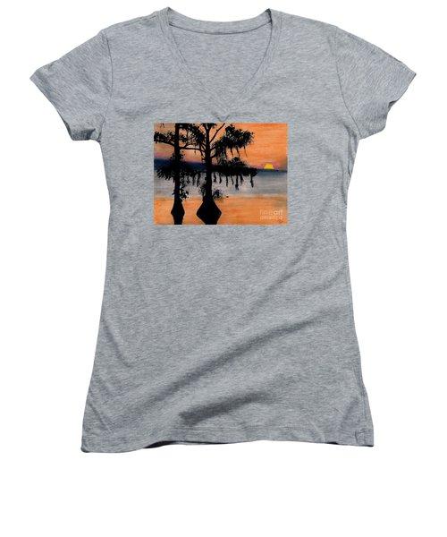 Women's V-Neck T-Shirt (Junior Cut) featuring the drawing Orange Cypress Sunset by D Hackett