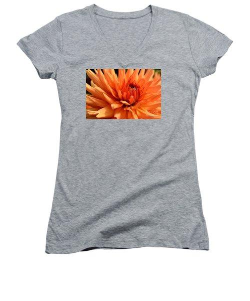 Orange Dahlia Women's V-Neck