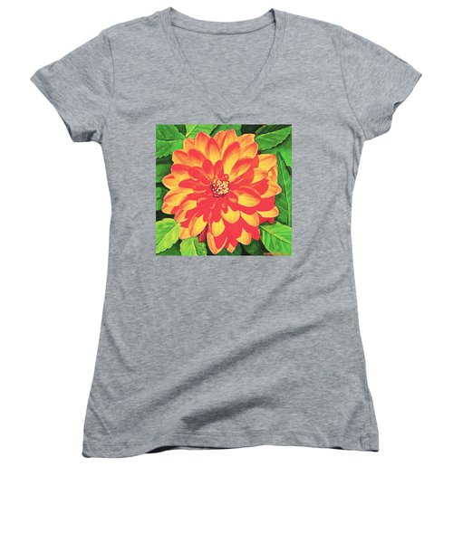 Orange Dahlia Women's V-Neck