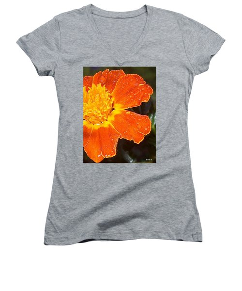 Orange Flower Women's V-Neck T-Shirt (Junior Cut)
