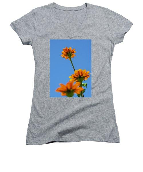 Women's V-Neck T-Shirt (Junior Cut) featuring the photograph Orange Flowers On Blue Sky by Debbie Karnes