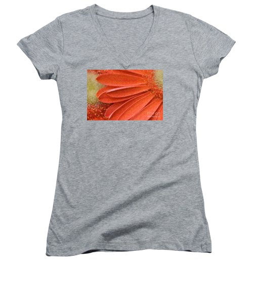 Orange Gerber Daisy Painting Women's V-Neck (Athletic Fit)