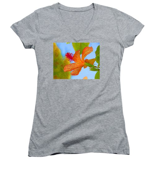 Orange Hibiscus  Women's V-Neck T-Shirt