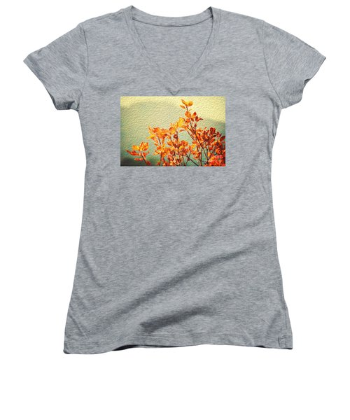 Women's V-Neck T-Shirt (Junior Cut) featuring the photograph Orange Leaves by Yew Kwang