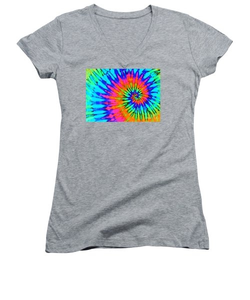 Orange Pink And Blue Tie Dye Spiral Women's V-Neck T-Shirt (Junior Cut) by Catherine Sherman