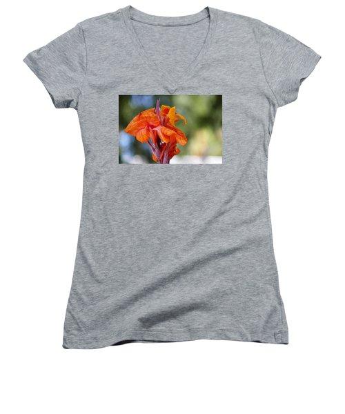 Orange Ruffled Beauty Women's V-Neck T-Shirt