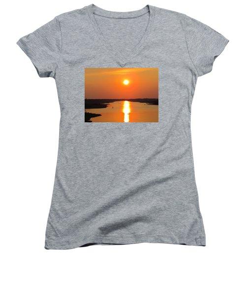 Women's V-Neck T-Shirt (Junior Cut) featuring the photograph Orange Sunset by Cynthia Guinn