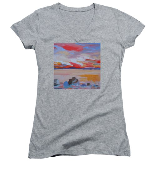 Women's V-Neck T-Shirt (Junior Cut) featuring the painting Orange Sunset by Francine Frank