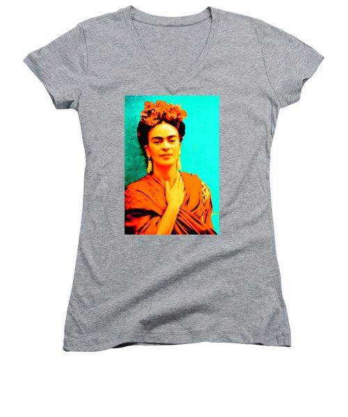 Orange You Glad It Is Frida Women's V-Neck (Athletic Fit)