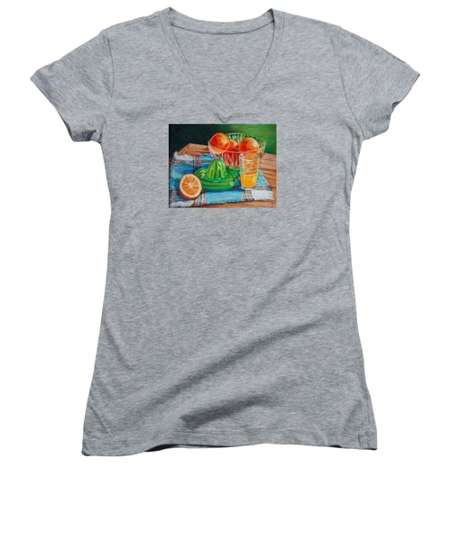 Oranges Women's V-Neck T-Shirt (Junior Cut) by Joy Nichols