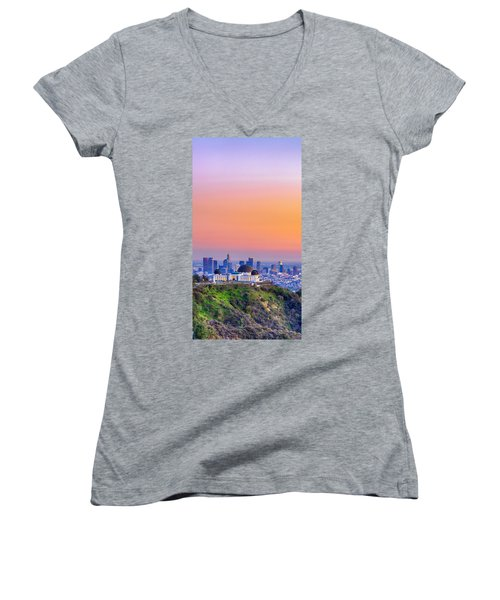 Orangesicle Griffith Observatory Women's V-Neck