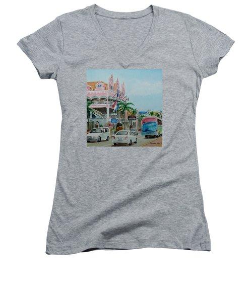 Oranjestad Aruba Women's V-Neck T-Shirt (Junior Cut) by Frank Hunter