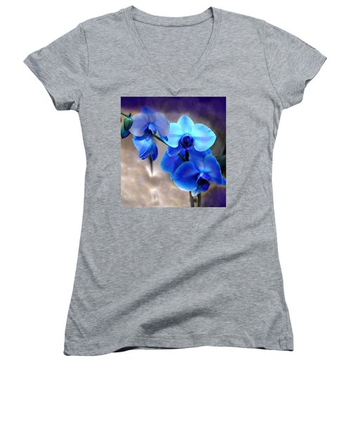 Women's V-Neck T-Shirt (Junior Cut) featuring the photograph Orchid Art by Wendy McKennon