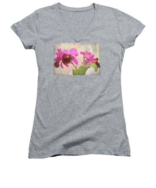 Orchid In Hot Pink Women's V-Neck T-Shirt