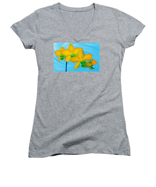 Orchid In Yellow Women's V-Neck