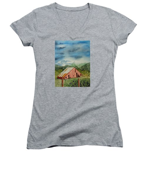 Women's V-Neck T-Shirt (Junior Cut) featuring the painting Oregon Barn by Katherine Young-Beck