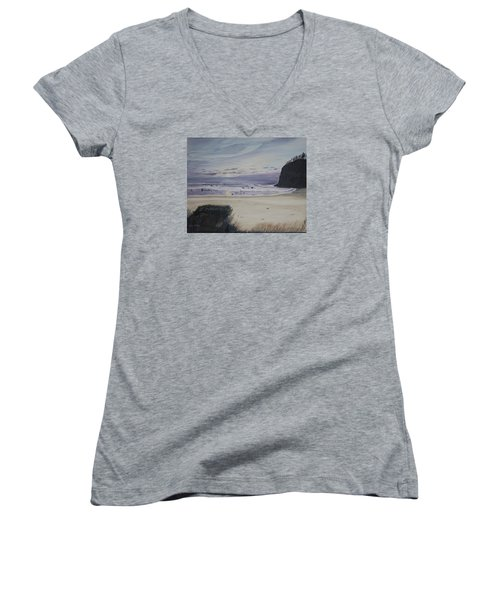Oregon Coast Women's V-Neck T-Shirt (Junior Cut) by Ian Donley