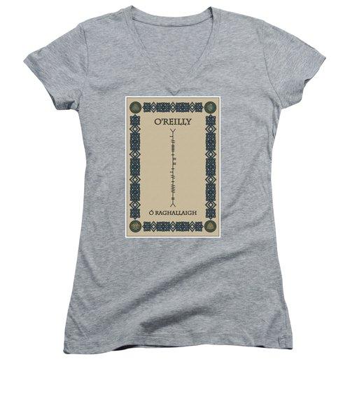 Women's V-Neck T-Shirt (Junior Cut) featuring the digital art O'reilly Written In Ogham by Ireland Calling