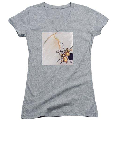 Organic Abstraction Women's V-Neck T-Shirt (Junior Cut) by Enzie Shahmiri