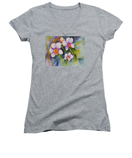 Orchids In My Garden Women's V-Neck T-Shirt