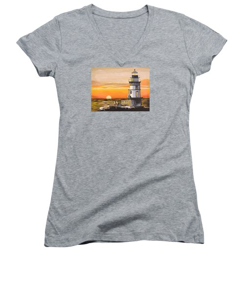 Orient Point Lighthouse Women's V-Neck (Athletic Fit)