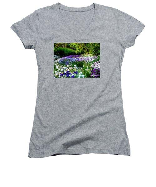 Oriental Ensata Iris Garden Women's V-Neck T-Shirt (Junior Cut) by Carol F Austin