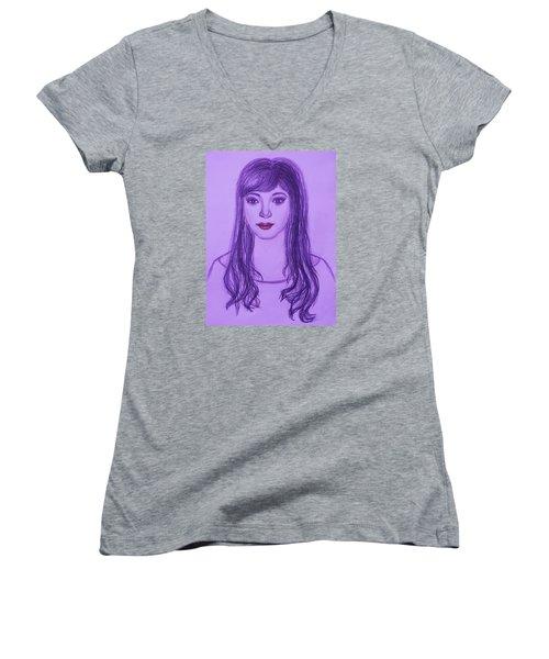 The Oriental Girl   Women's V-Neck T-Shirt