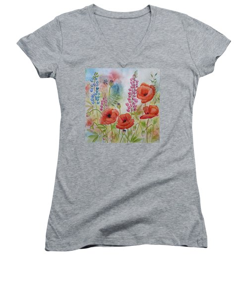 Women's V-Neck T-Shirt (Junior Cut) featuring the painting Oriental Poppies Meadow by Carla Parris