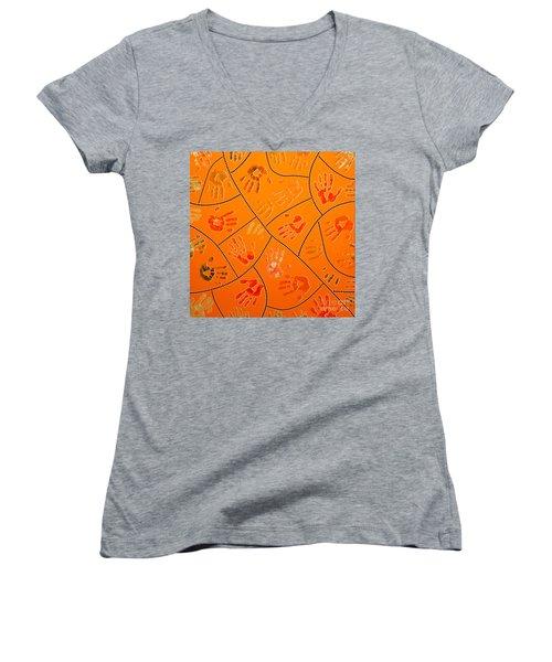 Women's V-Neck T-Shirt (Junior Cut) featuring the painting Original Art 3 by Mariusz Czajkowski
