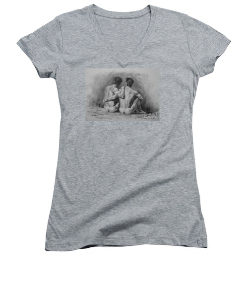 Original Drawing Sketch Charcoal Chalk Male Nude Gay Man Art Pencil On Paper By Hongtao Women's V-Neck T-Shirt (Junior Cut) by Hongtao     Huang