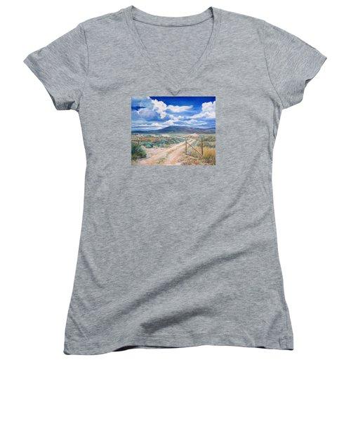Osceola Nevada Ghost Town Women's V-Neck T-Shirt (Junior Cut) by Donna Tucker