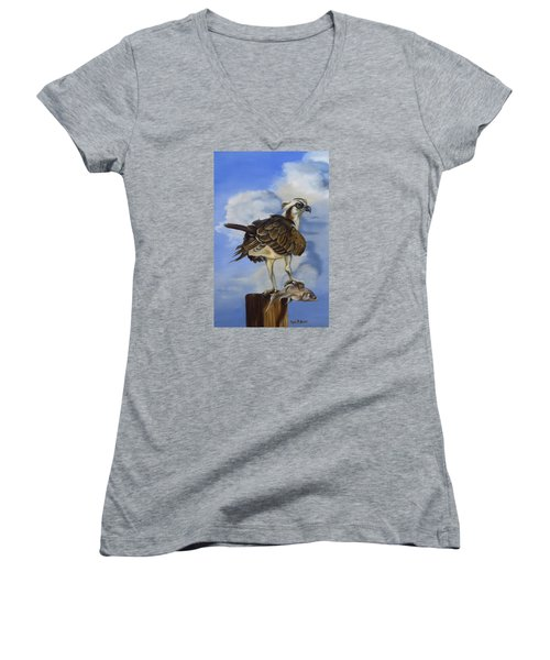 Women's V-Neck T-Shirt (Junior Cut) featuring the painting Osprey And A Mullet by Phyllis Beiser