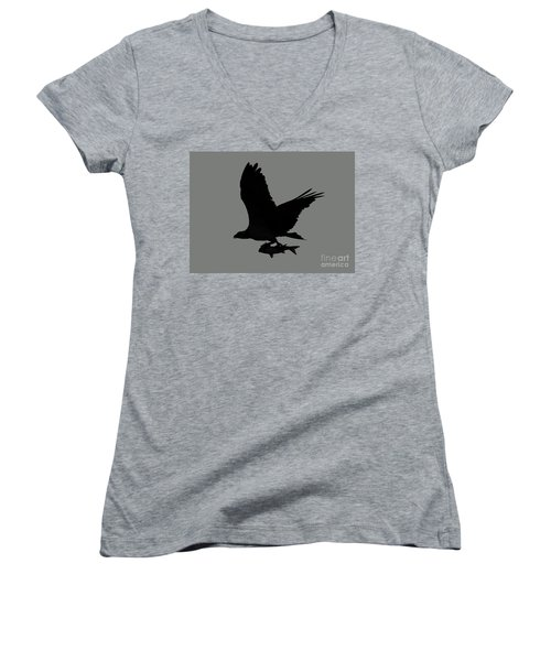Women's V-Neck T-Shirt (Junior Cut) featuring the photograph Osprey With A Fish Photo by Meg Rousher