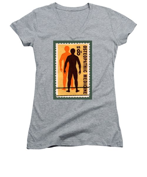 Osteopathic Medicine Stamp Women's V-Neck T-Shirt (Junior Cut) by Phil Cardamone