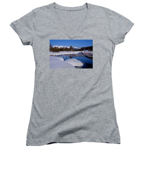 Women's V-Neck T-Shirt (Junior Cut) featuring the photograph Otter Creek by Jack Bell