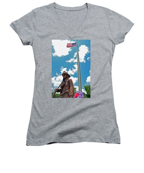 Women's V-Neck T-Shirt (Junior Cut) featuring the photograph Our Heroes by Charlotte Schafer